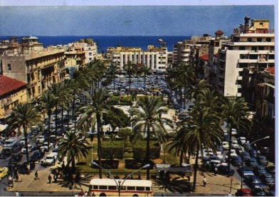 Postcard of Martyr's Square, Beirut in the 1960's.