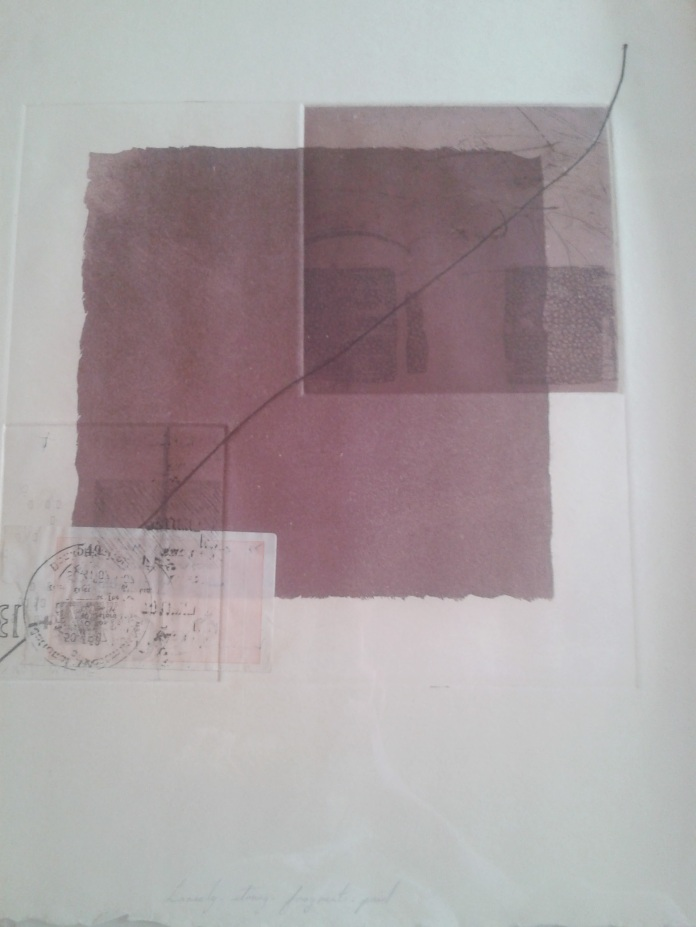 Fig. 4: Amanda Ryder, Loosely Strung Fragments (1976).  Aquatint and collage.