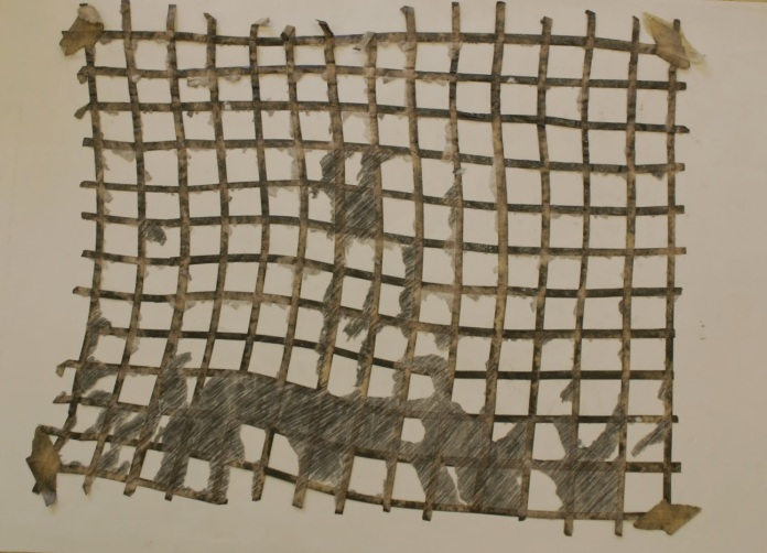 Fig. 6: Masking tape grid after removal from the paper support and tissue paper.