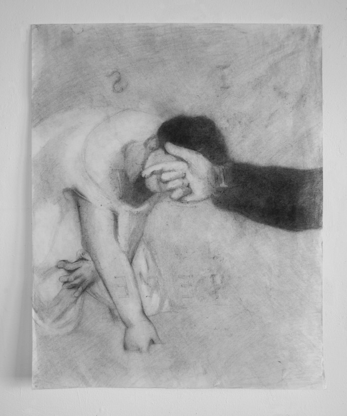 """""""Rubbing, Lunch"""", charcoal and graphite on paper, 25"""" x 31"""", 2014"""