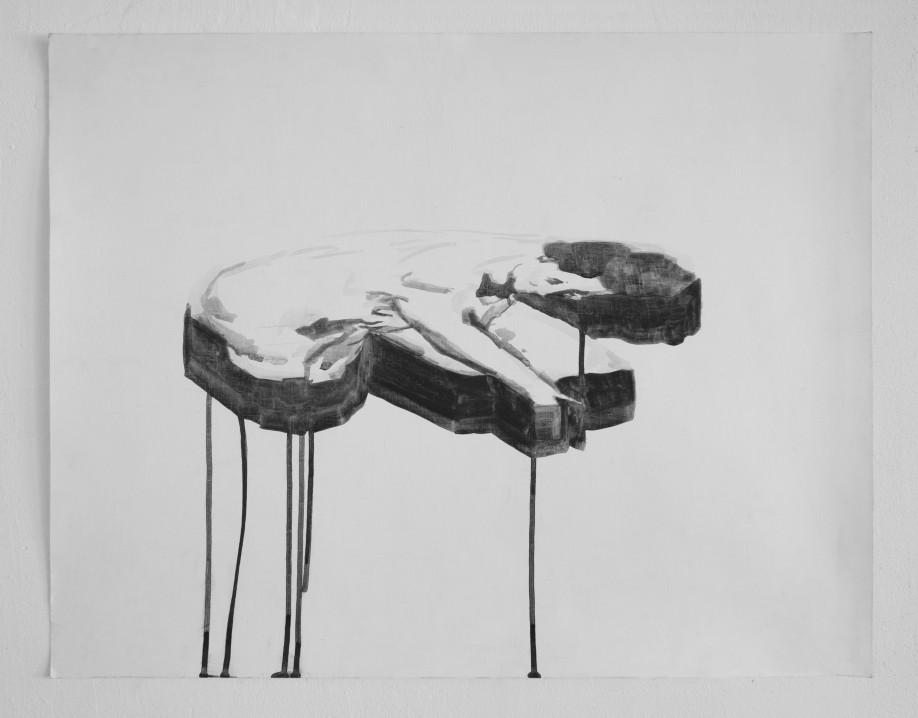 """Tilted Bather, ink"", ink on paper, 18"" x 24"", 2014"