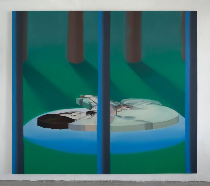 """Tilted Bather"", oil on canvas, 70"" x 79"", 2014"